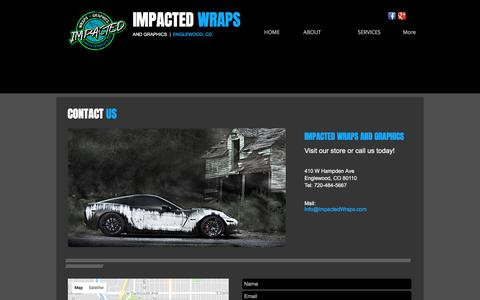 Screenshot of Contact Page impactedwraps.com - Impacted Wraps & Graphics | Denver Vehicle Wraps - captured March 6, 2018