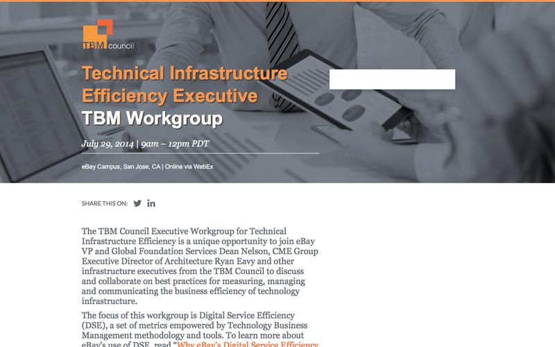 Technical Infrastructure Efficiency Executive TBM Workgroup - July 29, 2014