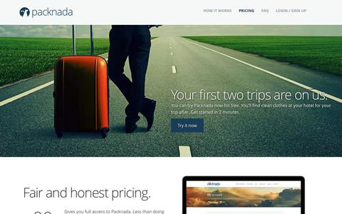 Screenshot of Pricing Page packnada.com - Packnada - Simple Prices, No Surprises. - captured Sept. 27, 2014