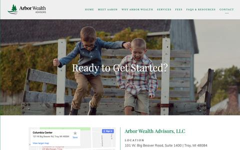 Screenshot of Contact Page arbor-wealth.com - Troy, Michigan | Contact Aaron Andreas — Arbor Wealth Advisors - captured Oct. 4, 2018