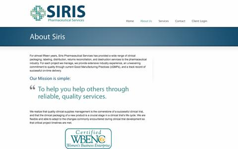 Screenshot of About Page sirispharma.com - About Us - Siris Pharmaceutical Services - captured Oct. 5, 2017