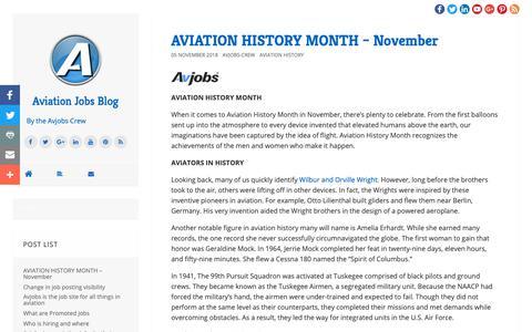 Screenshot of Blog avjobs.com - Aviation Jobs Blog | Aviation Jobs Blog - captured Nov. 12, 2018