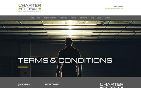 Screenshot of Terms Page charter-global.com - Terms & Conditions | Charter Global - captured Oct. 25, 2018