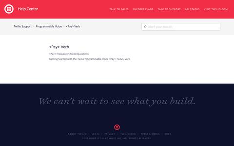 Screenshot of Support Page twilio.com - <Pay> Verb – Twilio Support - captured June 13, 2019