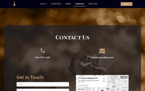 Screenshot of Contact Page esq2u.com - Contact Us - Peacock Planning - captured Oct. 30, 2018