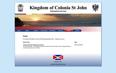 Screenshot of Press Page colonia.asia - Press | Kingdom of Colonia St John - captured May 23, 2016