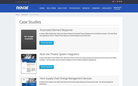Screenshot of Case Studies Page novar.com - Case Studies - captured Oct. 26, 2014