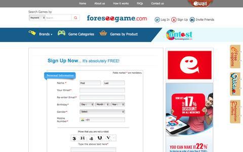 Screenshot of Signup Page foreseegame.com - Member Registration - captured Feb. 10, 2016