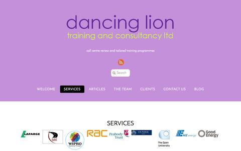 Screenshot of Services Page dancinglion.com - Services | dancing lion - captured Oct. 5, 2014