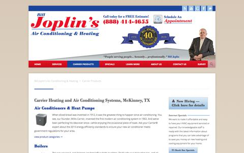 Screenshot of Products Page joplins.net - Carrier Central Heating and Air Conditioning Systems, McKinney, TX - captured July 1, 2018
