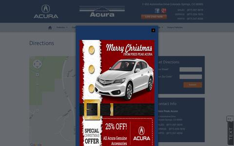 Screenshot of Maps & Directions Page pikespeakacura.com - Pikes Peak Acura | New Acura dealership in Colorado Springs, CO 80905 - captured Dec. 9, 2015