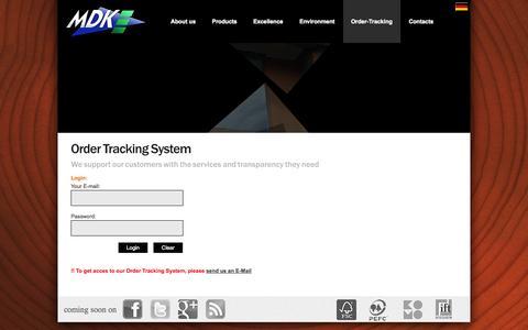 Screenshot of Login Page mdk-online.com - Order Tracking System - MDK OTS - captured Oct. 4, 2014