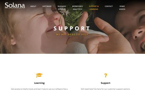 Screenshot of Support Page solanapro.com - Software - Solana software and services - captured July 13, 2019