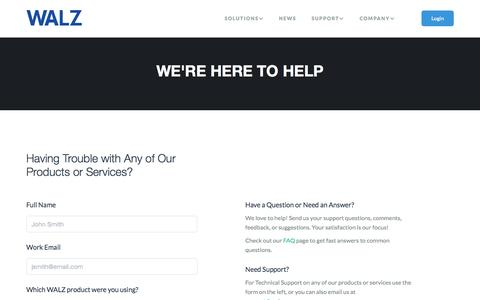 Screenshot of Support Page walzgroup.com - WALZ | Contact Support - captured Oct. 27, 2014