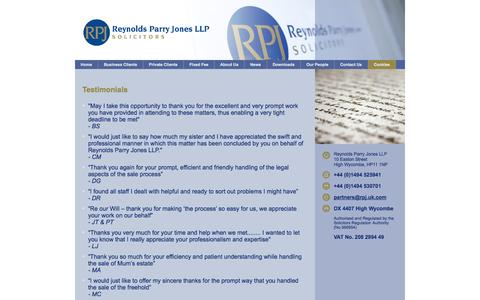 Screenshot of Testimonials Page rpj.uk.com - Testimonials : Reynolds Parry Jones LLP  Solicitors - captured Oct. 9, 2014