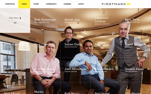Screenshot of Team Page firstmarkcap.com - Team | FirstMark Capital - New York City Venture Capital - captured Sept. 19, 2014
