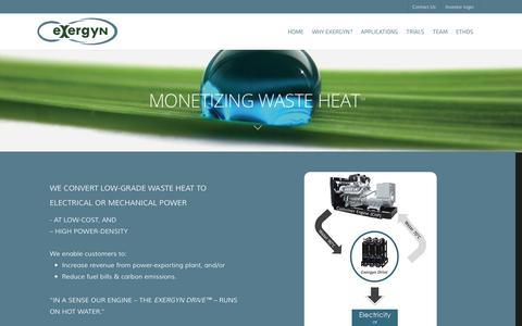 Screenshot of Home Page Team Page exergyn.com - Exergyn® - captured Sept. 16, 2014