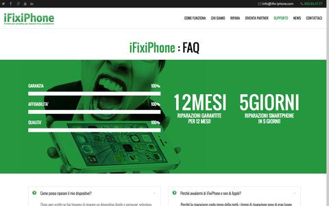 Screenshot of FAQ Page ifix-iphone.it - iFixiPhone | Riparazione smartphone? Ecco risposte e info sul servizio - captured Oct. 6, 2014