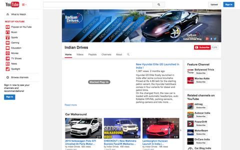 Screenshot of YouTube Page youtube.com - Indian Drives  - YouTube - captured Oct. 31, 2014