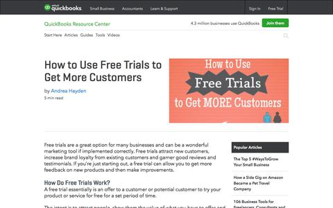 Screenshot of Trial Page intuit.com - How to Use Free Trials to Get More Customers - captured Dec. 5, 2017