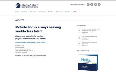 Screenshot of Jobs Page motivaction.com - MotivAction Careers - Performance Improvement - captured June 17, 2017