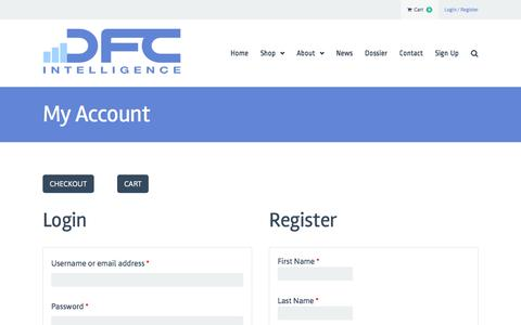Screenshot of Signup Page dfcint.com - My Account |  DFC Intelligence - captured Nov. 23, 2016