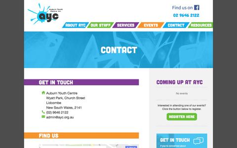 Screenshot of Contact Page ayc.org.au - Contact |  AYC - Auburn Youth Centre Inc. - captured Nov. 21, 2016
