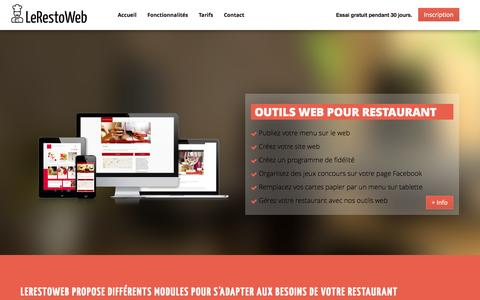 Screenshot of Home Page lerestoweb.com - LeRestoWeb | Solution Web pour restaurant | Web Marketing Fidélité Tablette - captured Jan. 27, 2015
