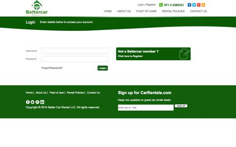 Screenshot of Login Page bettercardubai.com - Better Car Rental LLC - captured Oct. 5, 2014