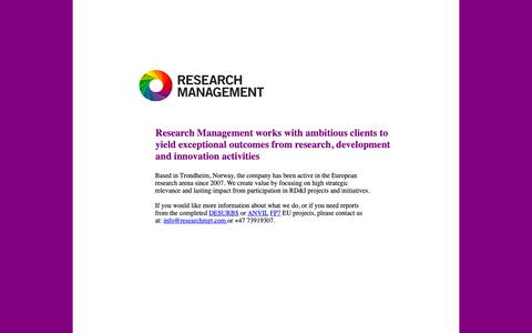 Screenshot of Home Page researchmgt.com - Research Management - captured Oct. 20, 2018