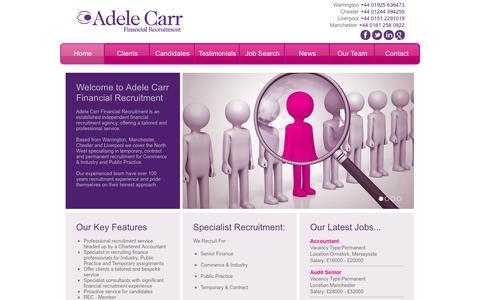 Screenshot of Home Page financialrecruitment.biz - Adele Carr Financial Recruitment | Home - captured Oct. 4, 2014