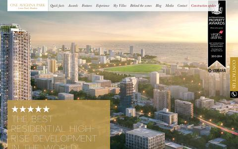 Screenshot of Home Page oneavighnapark.com - One Avighna Park – Luxury Residential Project in South Mumbai. - captured Sept. 30, 2014