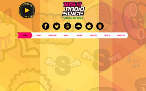 Screenshot of Home Page radiospicefm.com - 105.4 Radio Spice Fulltoo Twisted - captured Oct. 6, 2014