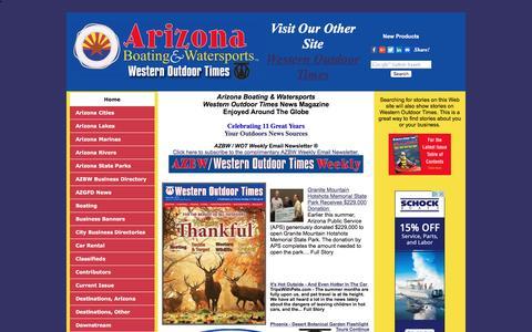 Screenshot of Home Page azbw.com - Arizona News - Boating, Camping, Hunting, Fishing, RV'ing, Water Sports, Wildlife - captured Nov. 21, 2016
