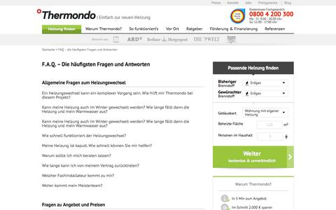Screenshot of FAQ Page thermondo.de - FAQ - die häufigsten Fragen und Antworten | Thermondo.de - captured Sept. 25, 2014