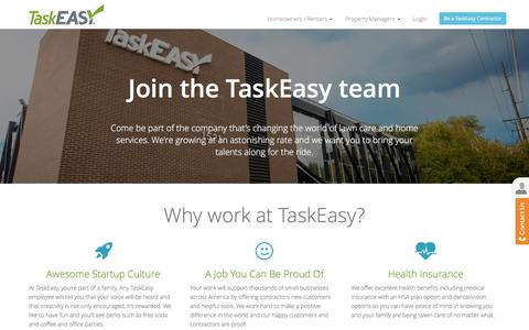 Screenshot of Jobs Page taskeasy.com - Interested in working for TaskEasy? Take the first step today! - captured Feb. 21, 2016