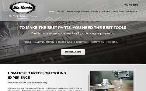 Screenshot of Home Page die-namic.com - Tooling & Inventory Management, 3D Design Services, Prototyping & Reverse Engineering Services - Belleville, Detroit, Ann Arbor | Die-Namic Inc. - captured Nov. 24, 2016