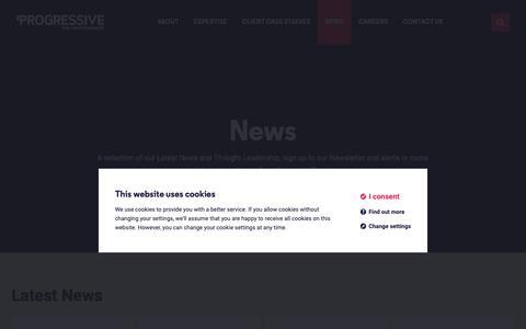 Screenshot of Press Page progressive-tsl.com - News                 - Progressive - captured Sept. 30, 2018