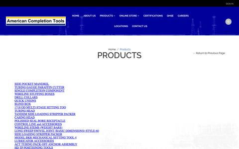 Screenshot of Products Page americancompletiontools.com - Products | American Completion Tools, Inc - captured Feb. 6, 2016