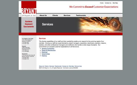 Screenshot of Services Page jhbryant.com - J.H. Bryant Construction » Clients & Projects - captured Nov. 18, 2016
