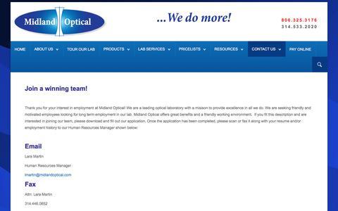 Screenshot of Jobs Page midlandoptical.com - Wholesale Optical Lens Laboratory - Careers - captured Sept. 20, 2018