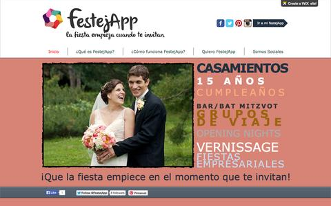 Screenshot of Home Page festejapp.com - FestejApp! Ahora tu fiesta dura mucho más! - captured Sept. 30, 2014