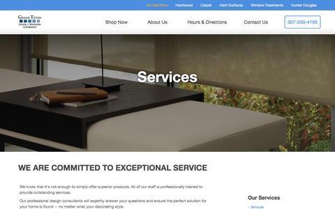 Screenshot of Services Page tetonfloors.com - Services - Grand Teton - captured Nov. 13, 2016