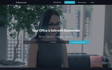 Screenshot of Home Page getbannerman.com - Private Security Services in San Francisco and Los Angeles - Bannerman - captured Dec. 1, 2015