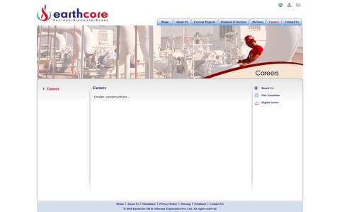 Screenshot of Jobs Page earthcore.in - Careers | Earthcore Oil & Minerals Exploration Pvt. Ltd. - captured Oct. 1, 2014