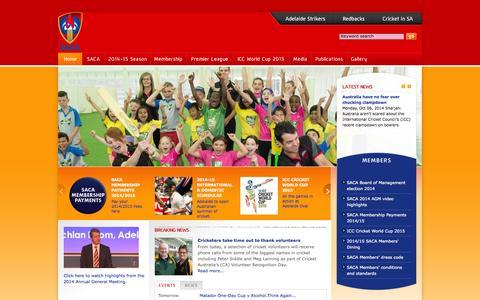 Screenshot of Home Page saca.com.au - SACA - South Australian Cricket Association - Home - captured Oct. 6, 2014