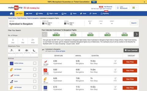 29 Flights Hyderabad to Bangalore Fares @Rs.1239+Cashback | MakeMyTrip®