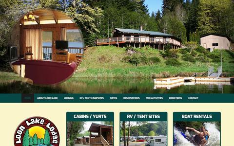 Screenshot of Home Page loonlakerv.com - Oregon Coast RV Sites | Cabins  | Boat Rentals | Loon Lake Lodge & RV Resort - captured Jan. 23, 2015