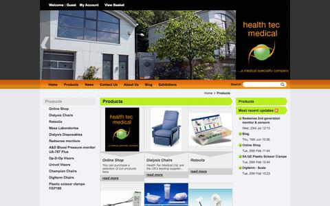 Screenshot of Products Page healthtec.co.uk - Products - Health Tec Medical Ltd. - captured Oct. 2, 2014