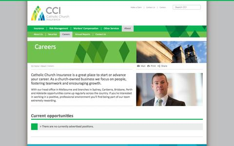 Screenshot of Jobs Page ccinsurance.org.au - Catholic Church Insurance - Careers - captured March 18, 2016